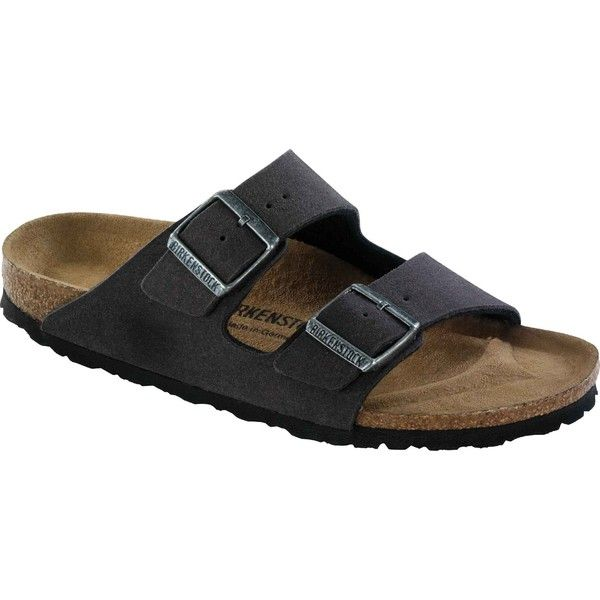 Birkenstock Unisex's Arizona Vegan Anthracite Microfiber Slide Sandals ($100) ❤ liked on Polyvore featuring shoes, sandals, black, slide sandals, synthetic leather shoes, faux leather sandals, unisex sandals and arch support shoes