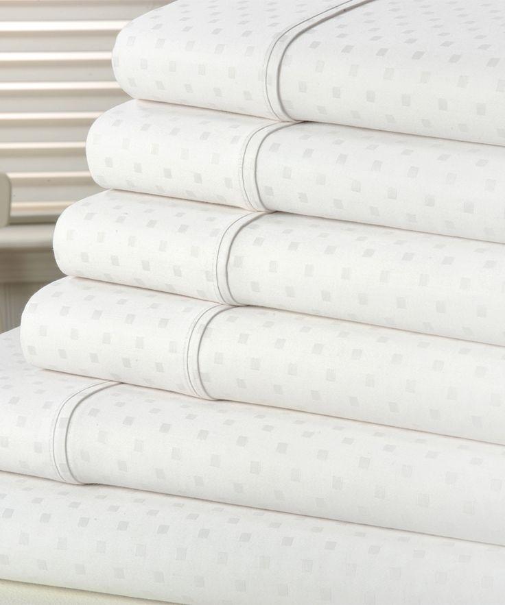 White Swiss Dot Six-Piece 1200-Thread Count Sheet Set