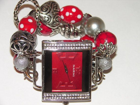 Red and Silver Chunky Beaded Watch Red and Silver by BeadsnTime, $30.00