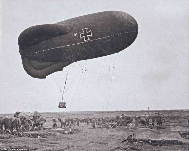 Eyes in the sky: A German observation  balloon takes off  to direct artillery fire at the Somme in 1916. Walter Kleinfeldt was fascinated wi...