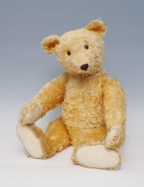 Original Teddy, Steiff, 20er Jahre, mit Knopf, Mohair gelb, hintermalte Glasaugen, langeangewinkelte — Spielzeug, Puppe, Puppenstube, Steiff, Blech, Blechspielzeug, Märklin, Eisenbahn, Spur 0, Teddy