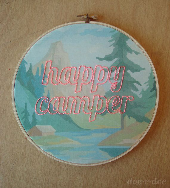 Embroidered Happy Camper on Forest Paint by Number Fabric Hoop