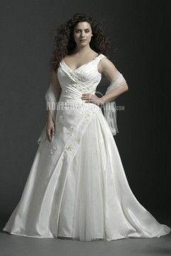 Robe de mariée grande taille col en v taffetas broderie
