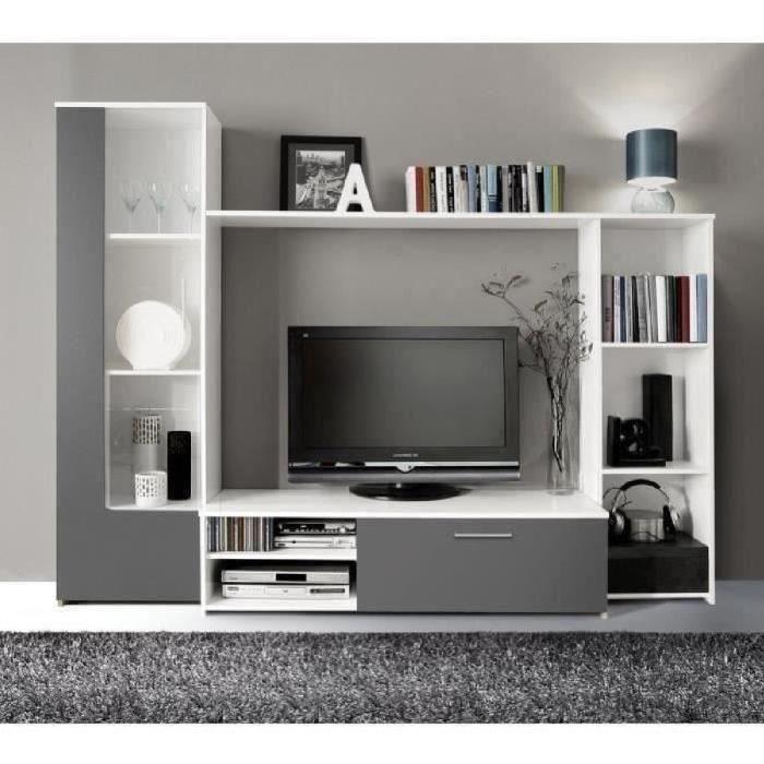 Finlandek Meuble Tv Mural Pilvi Contemporain Blanc Et Gris Mat L 220 4 Cm Meuble Tv Mural Meuble Tv Blanc Meuble Tv