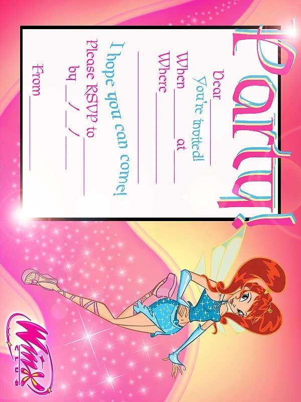 FREE Winx Club Fairis Printable Party Invitation - Best Gift Ideas Blog