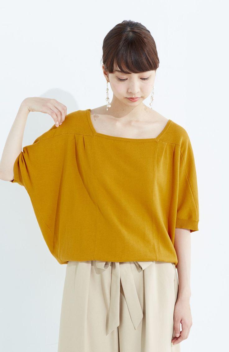 haco! PBP Tシャツ感覚で着られる ドルマン袖のさらりコットンニット <マスタード>の商品写真1