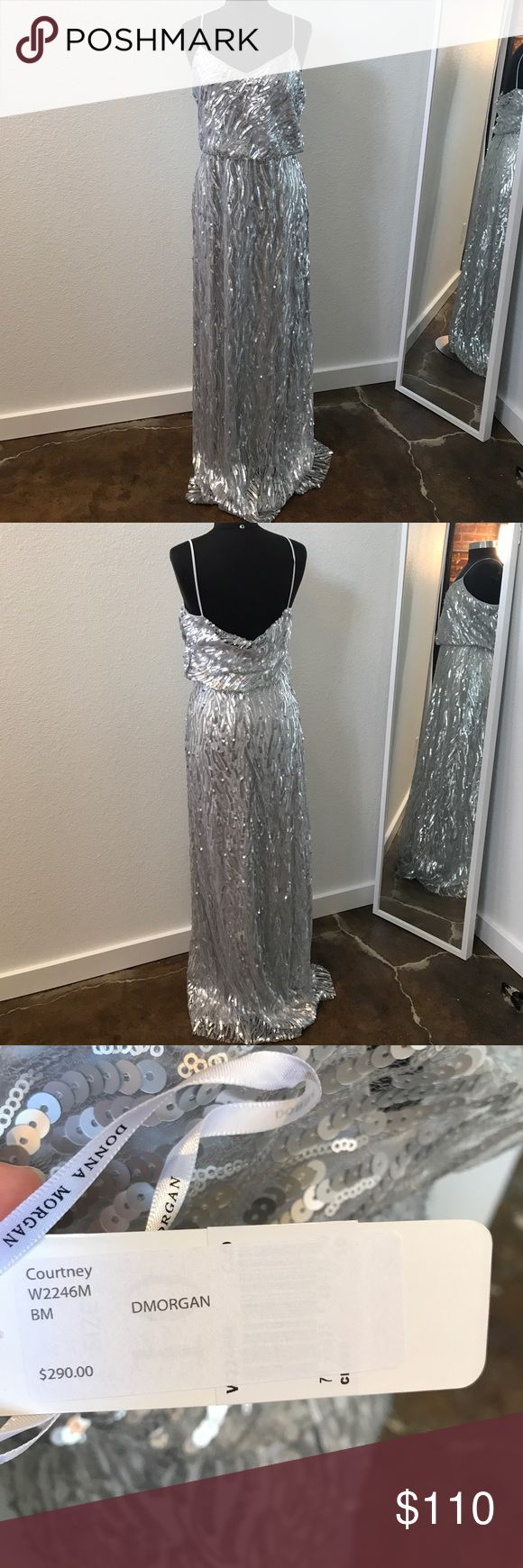Donna Morgan Silver sequined tank dress Donna Morgan silver sequined tank dress tag says 10 but fits like an 8 and measures 36 1/2 29 39 and has not been altered Donna Morgan Dresses