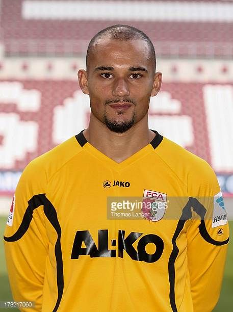 Mohamed Amsif poses during the FC Augsburg team presentation at SGL Arena on July 8 2013 in Augsburg Germany
