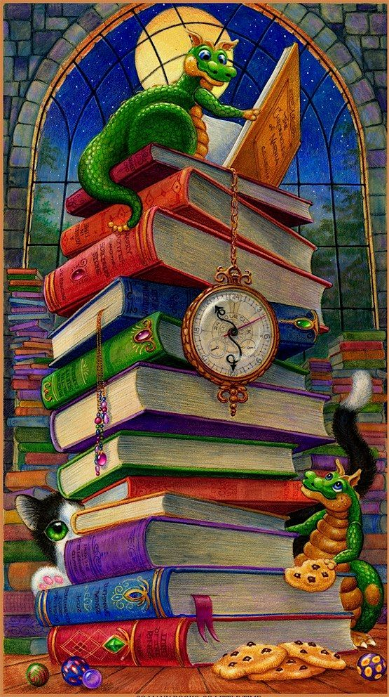 """I have this one. Love his prints and have several around the house. """"So Many Books So Little Time"""" 2D mixed media 17 7/8 x 24 by Randall Spangler"""