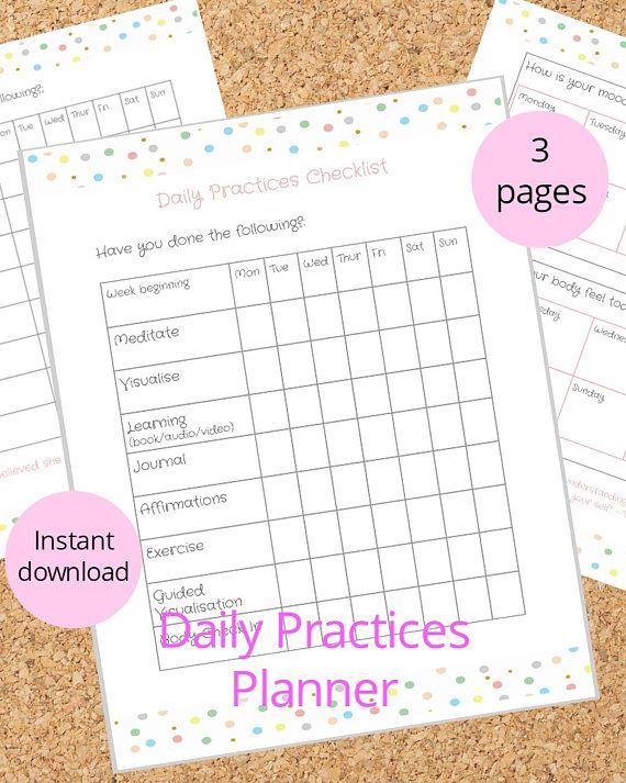This printable planner insert is perfect for those who love to practice Miracle Morning style habits. Never miss a step and feel satisfaction once you tick off your habits one by one. Daily meditation, visualisation, learning, excercise , journaling and affirmations are covered in this printable. You also get a plain checklist to add your own habits, and a daily check in on how your mood is and how your body feels.  **INSTANT DOWNLOAD**  What is included:  - 3 page Planner Printable in pdf…