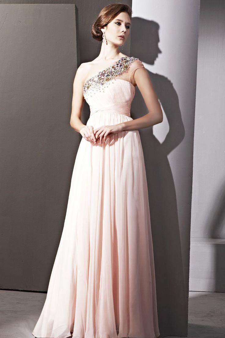 Pink Beads One-shoulder Sheath/Column Evening Dress