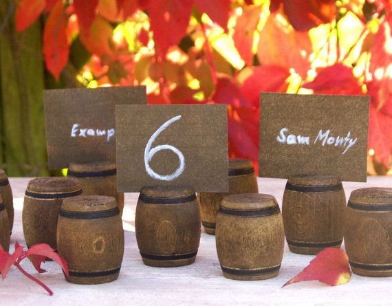 Miniature Wooden Barrel Place Card Holder  by ForMomentsinTime