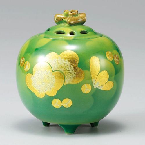 Kutani Porcelain Japanese Incense Burner Kinpaku Umefumi Green H11CM | eBay