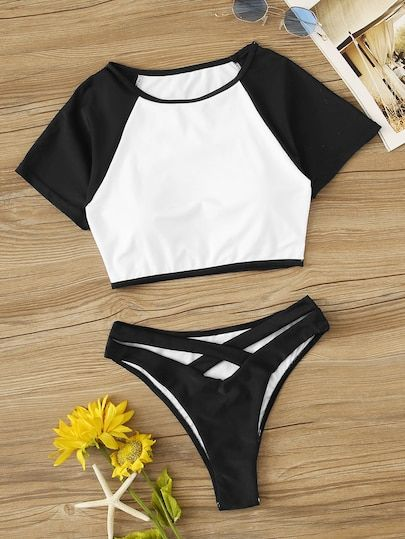 Two Tone Raglan Sleeve Tee With High Cut 2 Piece Swimsuit