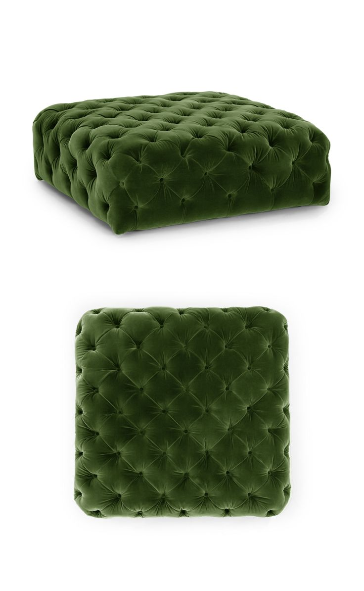 Tufted and luxurious. DIAMOND 'Grass Green' ottoman.