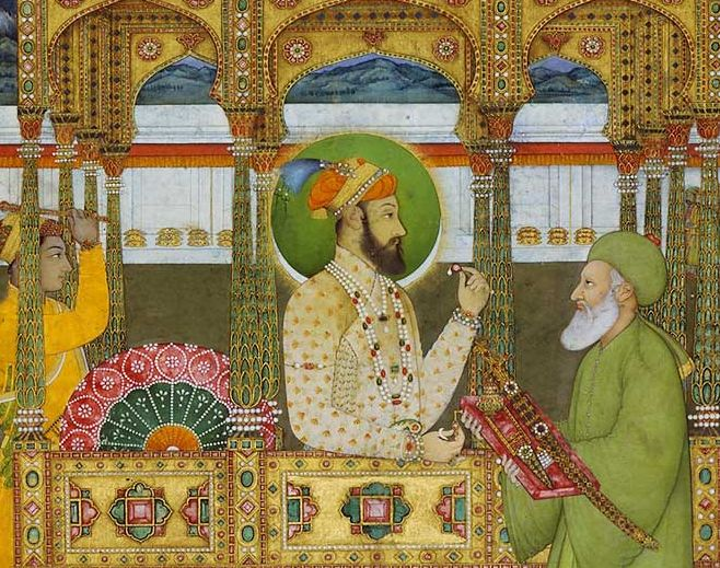 Prince Azim us Shan shown as Emperor here by his son Farrukhsiyar and receiving the investiture of Khizr
