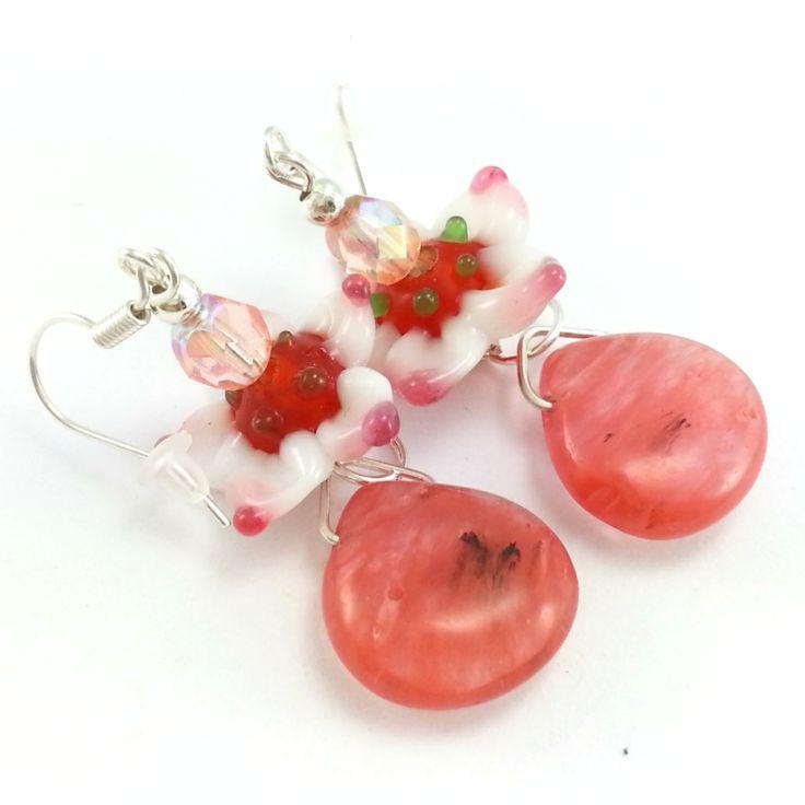 Kolczyki kwarc wiśniowy łezki z kwiatkami