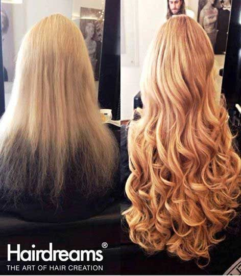 Hair extensions weave before and after