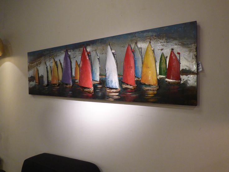 ( verlichting online ) Klik op deze link https://www.rietveldlicht.nl schilderij zeilboot olie ijzer 3d  of route 66 motor vw auto . Klik 2 keer op de foto voor mooier effect en groter.