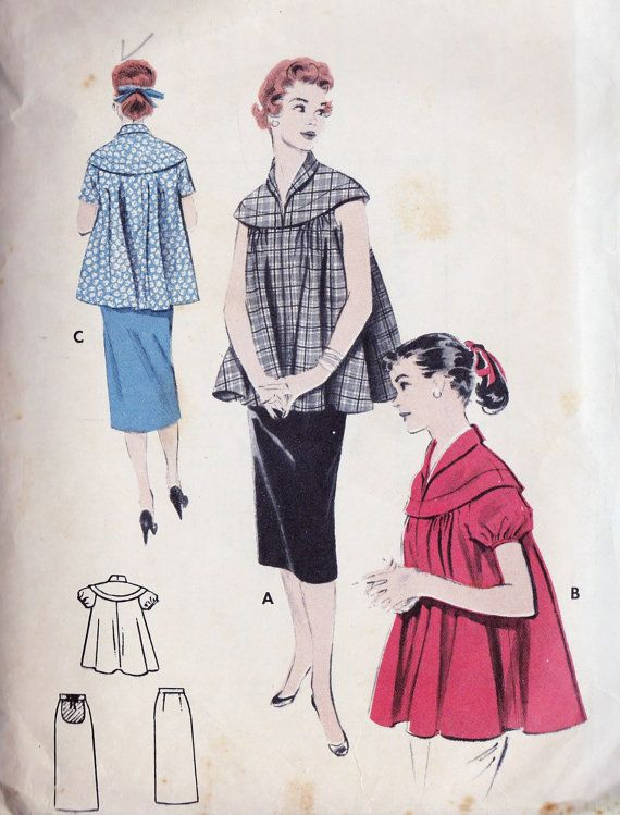 1950s Maternity Smock Top and Skirt - Doesn't it look like something Lucy wore when she was pregnant with Little Ricky?