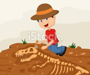 Cartoon Child archaeologist excavating for dinosaur fossil Royalty Free Stock Vector Art Illustration