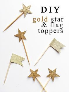 Cheap, quick and simple DIY cupcake gold star and flag toppers for twinkle twinkle little star party!