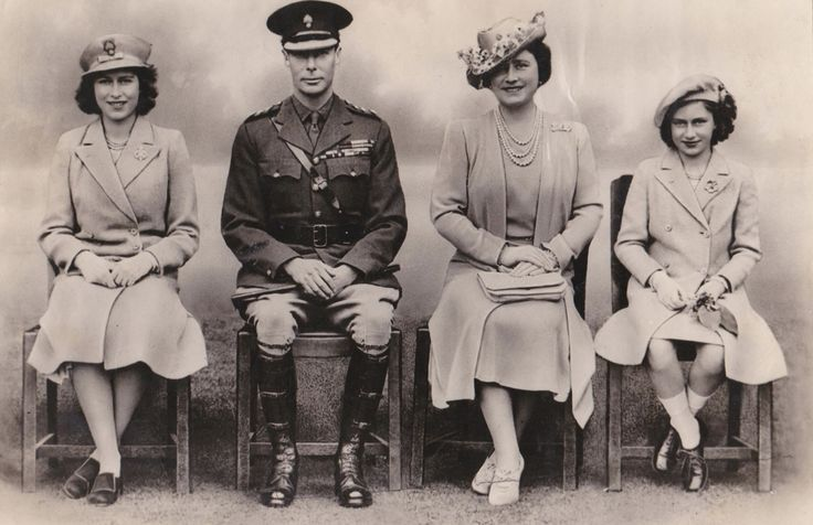 Princess Elizabeth (Queen Elizabeth II), George VI, Queen Elizabeth (The Queen Mother) and Princess Margaret