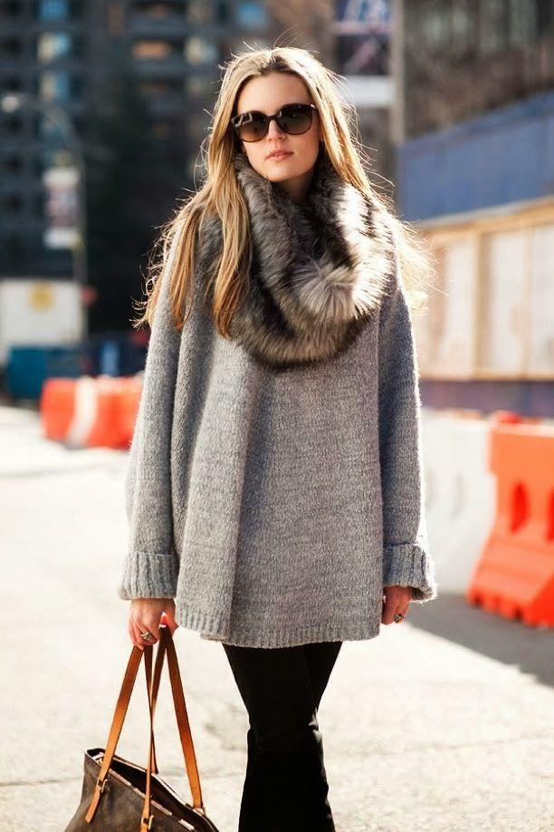 Fur infinity scarf and big grey sweater.