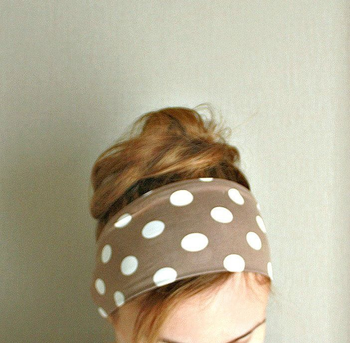 women headband polka dot tan white workout headband sport head wrap mod hair band beach retro pin up beige exercise headband jersey stretch by EvergreenGarden on Etsy