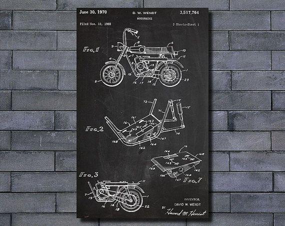 Motorbike Art Print Chalkboard Poster Home Wall Decoration Patent Design Patent Decoration Patent Art Patent Print No Frame US3517764