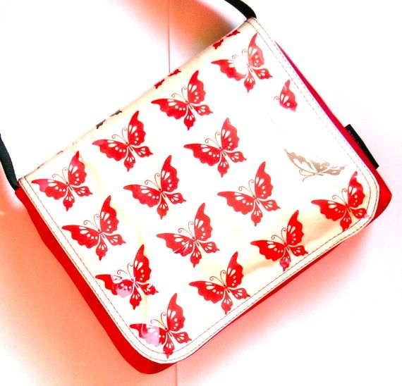 red butterfly messenger bag by missy mao mao on by missymaomao, $109.00
