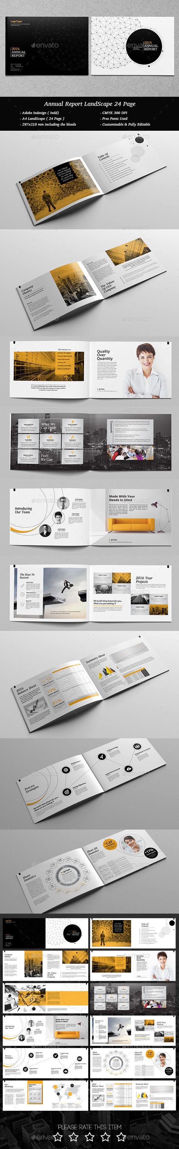 Annual Report Landscape 24 Page Template #design Download: http://graphicriver.net/item/annual-report-landscape-24-page/12475939?ref=ksioks