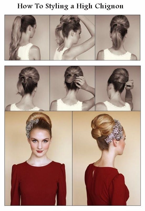 How To Styling a High Chignon They make it look so easy, and I have long hair...somehow, I doubt I'll ever be able to pull it off. I'll pin it regardless. My dreams can shatter later.