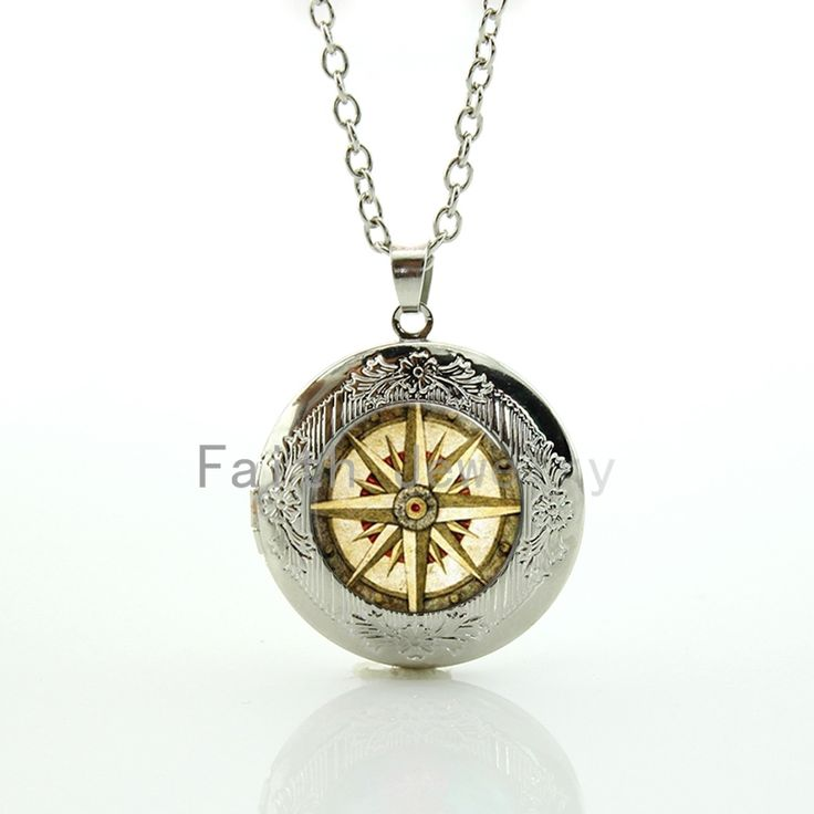 Old World Sailing Compass Nautical Ocean Sea Ship pendant vintage beige compass pattern locket necklace seaman jewelry HH297