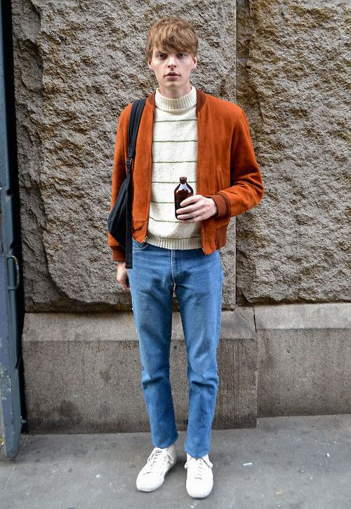 We love this simple 70s-inspired ensemble spotted on the streets of New York  Subscribers click here for the NY men's October street shot gallery
