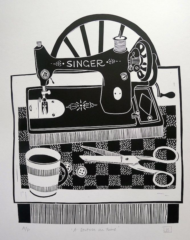 Jan Brewerton ~ A Stitch in Time (linocut)