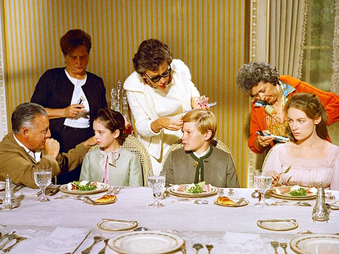 Behind the Scenes on The Sound of Music, 50 Years Later   DINNER TABLE ETIQUETTE   Real place settings and food were used during the dinner scene, after Maria meets the von Trapp children for the first time.