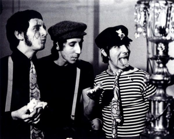 John Entwistle, Pete Townshend and Keith Moon during filming of the 'Happy Jack' promo, 1966