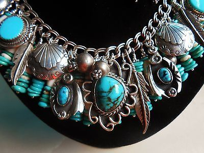 Native American Sterling Silver & Turquoise Charm Bracelet