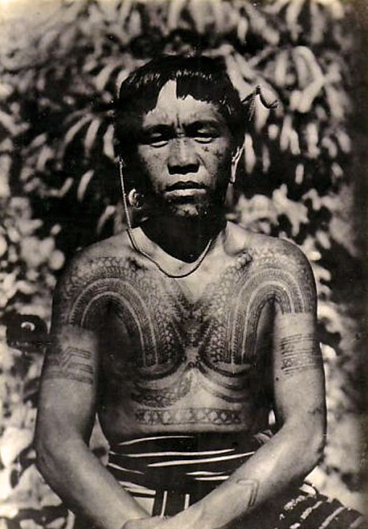 Philippines tattooed kalinga man vintage photographic for Best tattoo artists in the southeast
