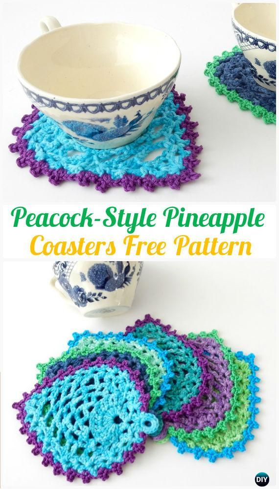 Crochet Peacock-Style Pineapple Coasters FreePattern- Crochet Coasters Free Patterns