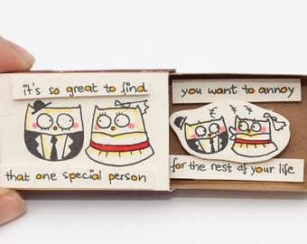 Funny Anniversary Card/ Owl Love Card / Matchbox/ Gift box/ Message box/ It's so great to find that one special person you can annoy