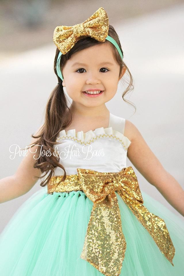c4e14272df2 Flower girl dress-Ivory gold Mint Sequin Flower girl dress-gold Ivory  flower girl dress