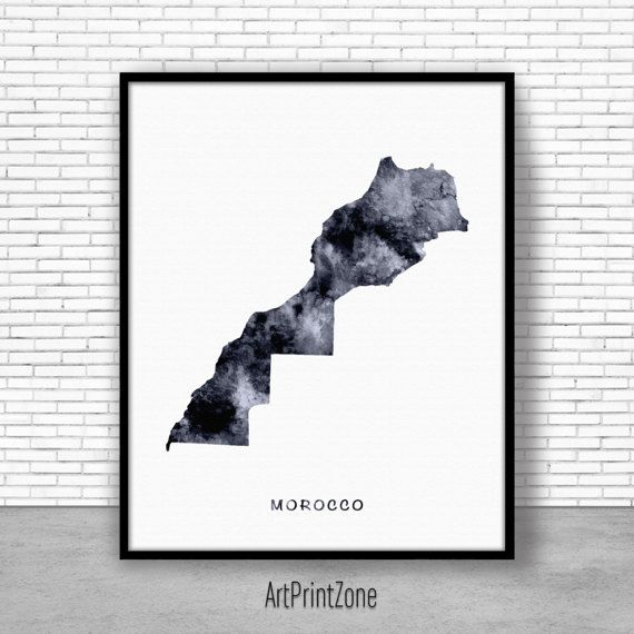 Morocco Print, Watercolor Map, Morocco Map Print Office Wall Decor, Office Wall Art, Living Room Art, Map Decor, Map Wall Art Print Zone #WatercolorMap #LivingRoomArt #ArtPrintZone #MapDecor #OfficeWallArt