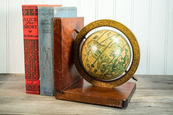 Vintage Old World Globe Bookend 1 on Wood by PatsyAndAliceVintage
