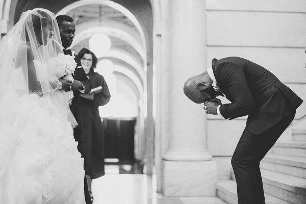This groom nearly fell to his knees at the sight of his stunning bride! |image by Douglas Polle