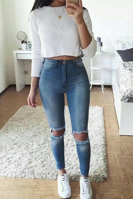 white crop long sleeve jeans with high waist