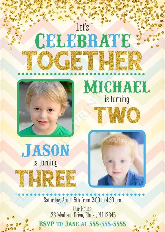 47 best joint birthday invitations images on pinterest convites de boys joint birthday invitation with photo siblings joint party stopboris Image collections