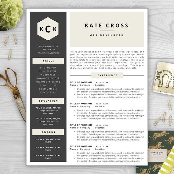 make your rsum stand out with a beautiful and professional rsum template from the rsum template studio monogram resume templates pinterest