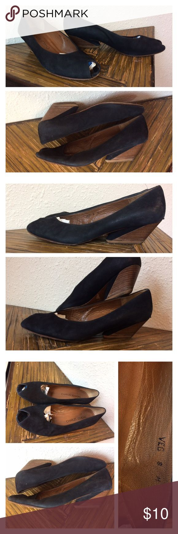 "Black Brown Leather Charles Jourdan Two Tone Pumps Adorable two tone charles jourdan pumps w black and brown wooden asymmetric heel Size 8M. Fits true to size.  Black suede -2"" heel. Few scuffs here n there but overall good condition Charles Jourdan Shoes Heels"